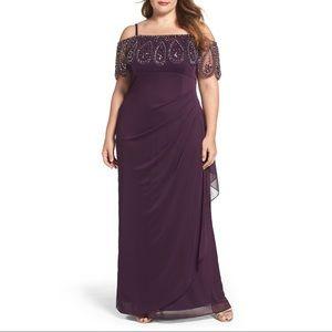 Xscape purple beaded gown